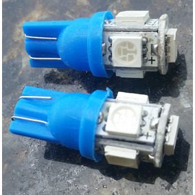 02 Lampadas Automotiva Cor Azul (soquete T10 5 Leds)