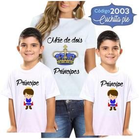 01 Camiseta Tal Mãe 02 Tal Filho - Mãe De Dois Príncipes