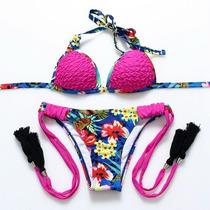 Hermoso Bikini Floral Fiusa Push Up Corte Brasileño