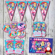 Kit Equestria Girls Invitaciones, Stickers, Banderín, Cartel