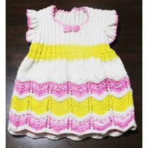 Crochetchile Vestido Niñita Tejido Palillo, Talla 4, Nuevo