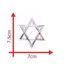 Emblema Cromado Adesivo Evangélico Cristão Estrela De Davi
