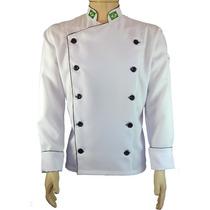 Kit 3 Dolmãs Oxford + Chapéu Chef Branco + Avental Preto