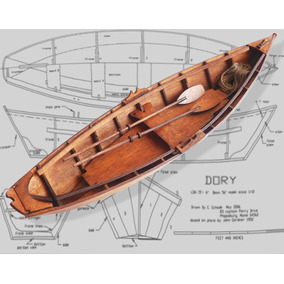 Barco Dory - Kit 39 Cm P/montar Puzzle 3d Cortado A Laser