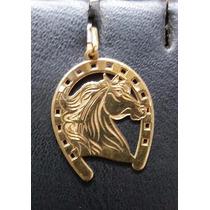 Pingente Cavalo Ferradura Em Ouro 18