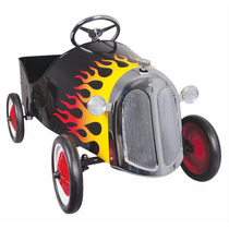 Carro De Pedales Hot Rod Negro Con Flamas Para Niños