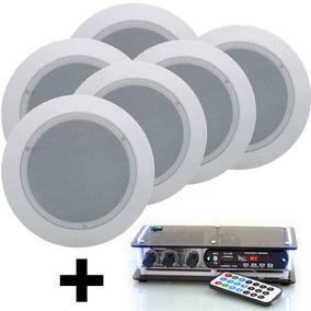 Kit Som Ambiente Amplificador Bluetooth 6 Caixas Novo 60w