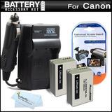 2 Batería Y Cargador Kit Para Canon Powershot Sx40 Hs Sx40h