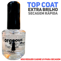 10 Top Coat Gorgeous Unhas Acrygel Porcelana Seca Sem Cabine
