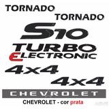 Adesivos S10 Turbo + Tornado 4x4 Pretos + Faixa - 2006 À 08