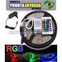 Fita De Led Rgb Smd 3528 Colorida + Controle Remoto + Fonte