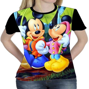 Camiseta Blusa Mickey Minie Disney Femenina Baby Look