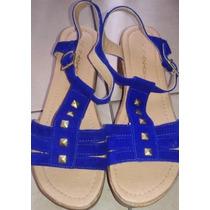 Sandalias Plataformas Nazaria Azul Francia Tachas 37