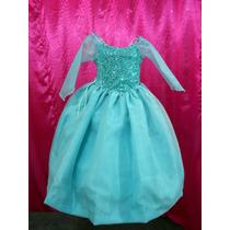 Vestido Disfraz Lujo Princesa Elsa Frozen Capa Incluida