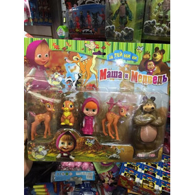 Kit 5 Bonecos Masha E O Urso+animais Fsta Bolo Decolar