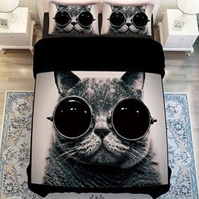 gato de la manera con los vidrios memorecool duvet cover se