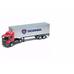 Caminhão Miniatura Scania R470 Baú 1/32 Welly Carreta