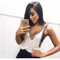Blusa Regata Pedraria Feminina Viscolycra Instagram Anitta