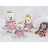 Kit 3 Ursas Princesas Provençal Rosa Com Coroa Enxoval Bebê