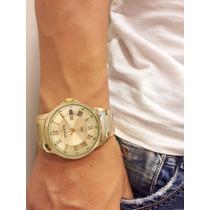 Relógio Atlantis Marca Original Dourado Lindo Aço Homem Soci
