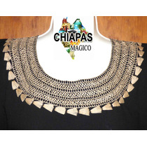 Blusas De Chiapas Bordadas A Mano / Negras / Talla Mediana