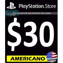 Cartão $30 Dólar Us Psn Card Americana - Código Americano