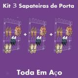 Kit 3 Sapateiras Em Aço 24 Divisórias Porta Ou Parede Closet