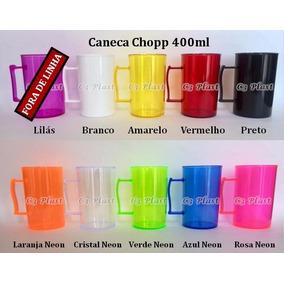 50 Caneca Chopp 400ml Acrilica - Cores Neon E Comum Indique!