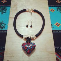 Collares Artesanales Corazones De Ceramica Y Vitrales
