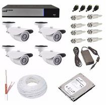 Kit Cftv Dvr Luxvision 8 Ch + 4 Câmera Ahd-m 1.3 Mega + Hd