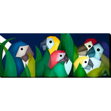 Quadro Decorativo Gravura Tela Painel Cubismo Araras 100x40