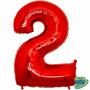 Balão Metalizado Número 2 Vermelho 14 Polegadas - Aprox.35cm