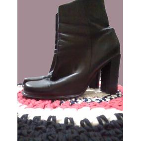 Bota Caña Media De Mujer - Cuero Cabritilla - Color Negro