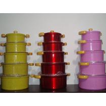 Jogo 5 Panela Alumínio Fundido Grosso 10mm Coloridas