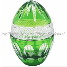 Ovo Bomboniere Pinha Grande Cristal Lapidado Bohemio Verde