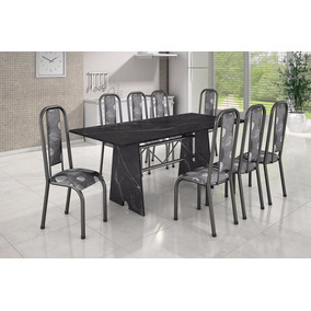 Conjunto Madmelos 8 Cadeiras Granito Preto Tampo Em Granito