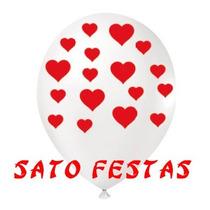 Balão Branco Com Coração Joy Nº9 - Pacote Com 25 Unidades
