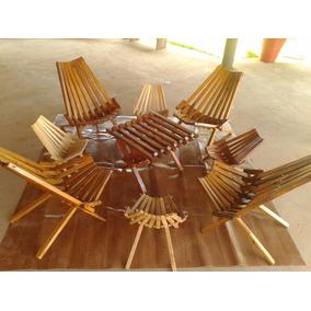 Jogo De Cadeiras Leque Com Mesa Em Madeira, Rústico