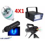 Kit Iluminação Festa 4x1 Laser Bola Strobo Luz Negra