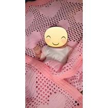 Manta Bebés Corazones Crochet Artesanía Hermosa Cobija Niña
