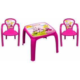 Mesa Infantil Princesinha Com 2 Cadeiras Rosa