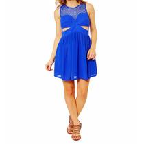 Vestido Curto Azul Tela Canal