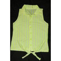 Camisa A Rayas Blanca Y Verde Fluo Navidad