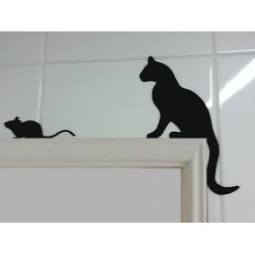 Gatos Decorativo Canto De Porta Mdf
