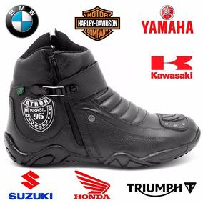 Bota Honda Motociclista Motoqueiro Coturno Ziper Couro 271