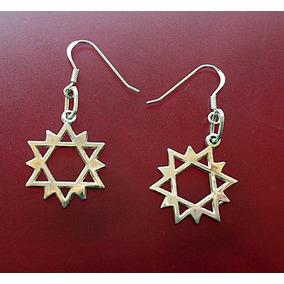 Arete Doble Estrella De David 12 Picos Plata Ley .925 Solida