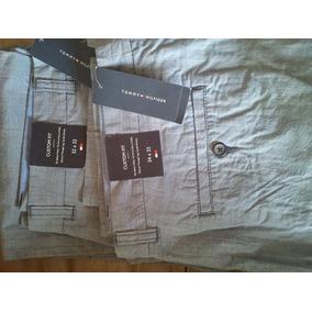 Pantalon Tommy De Vestir Casual Griz Claro / Rayas - Hombre