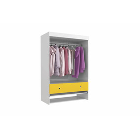 Armário Mini Closet Suspenso Bart Colibri - Branco/amarelo