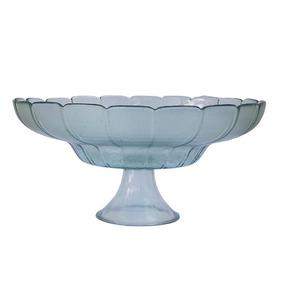 Centro De Mesa Vaso Vidro Com Pé Liso Transparente Florido