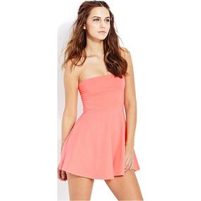 Forever 21 Vestido Coral Spandex Straples Talla S Amyglo